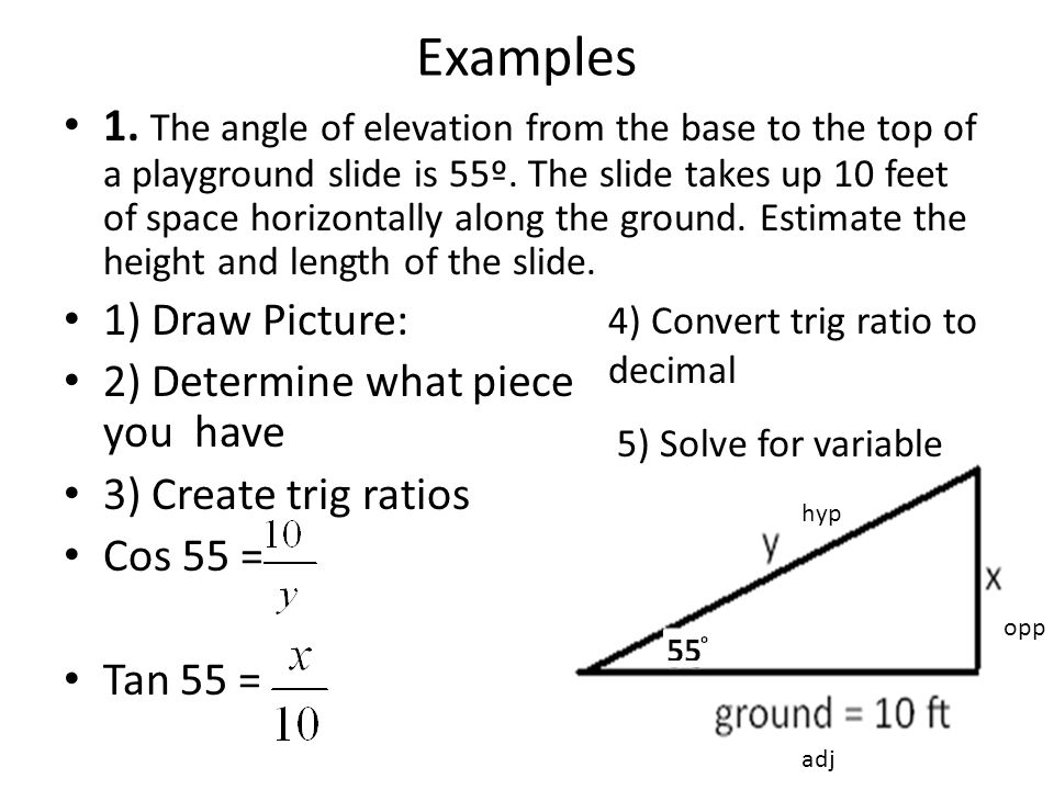 Examples 1. The angle of elevation from the base to the top of a playground slide is 55º. The slide takes up 10 feet of space horizontally along the g