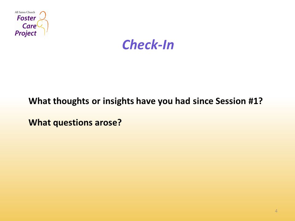Check-In 4 What thoughts or insights have you had since Session #1 What questions arose