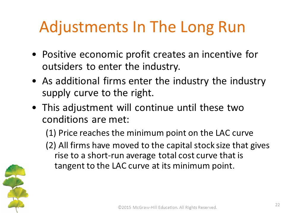Adjustments In The Long Run ©2015 McGraw-Hill Education. All Rights Reserved. 22 Positive economic profit creates an incentive for outsiders to enter