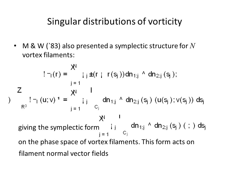 Singular distributions of vorticity M & W (`83) also presented a symplectic structure for N vortex filaments: giving the symplectic form on the phase space of vortex filaments.