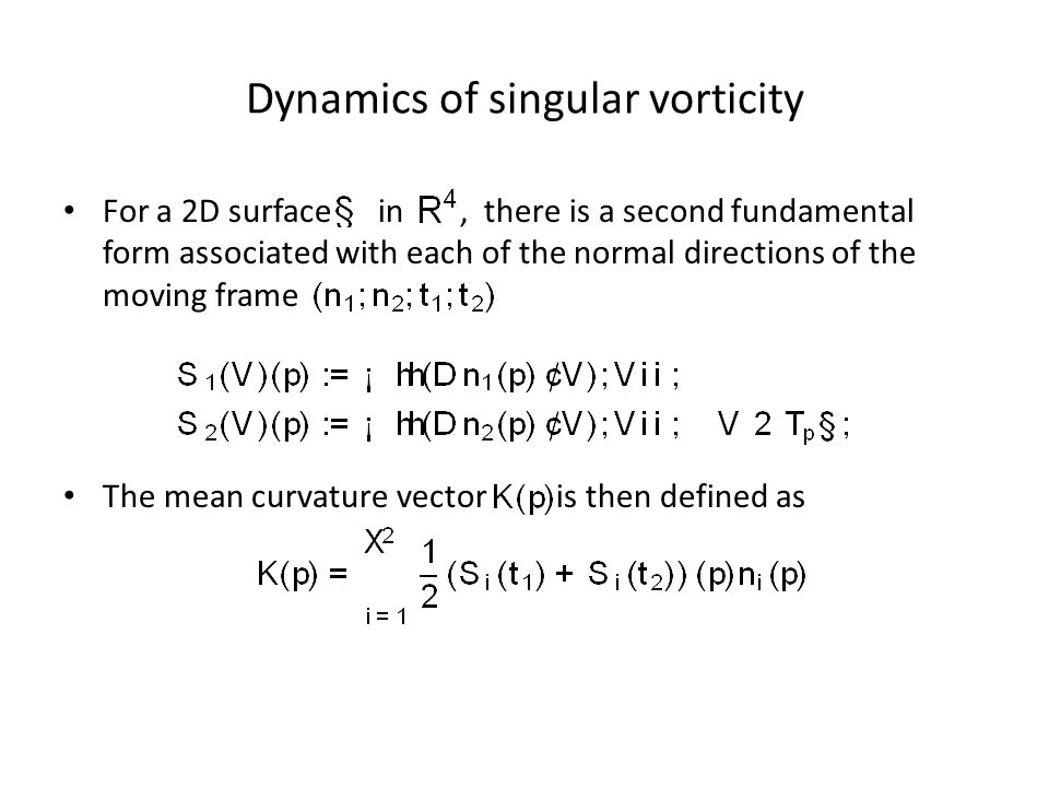 Dynamics of singular vorticity For a 2D surface in, there is a second fundamental form associated with each of the normal directions of the moving frame The mean curvature vector is then defined as