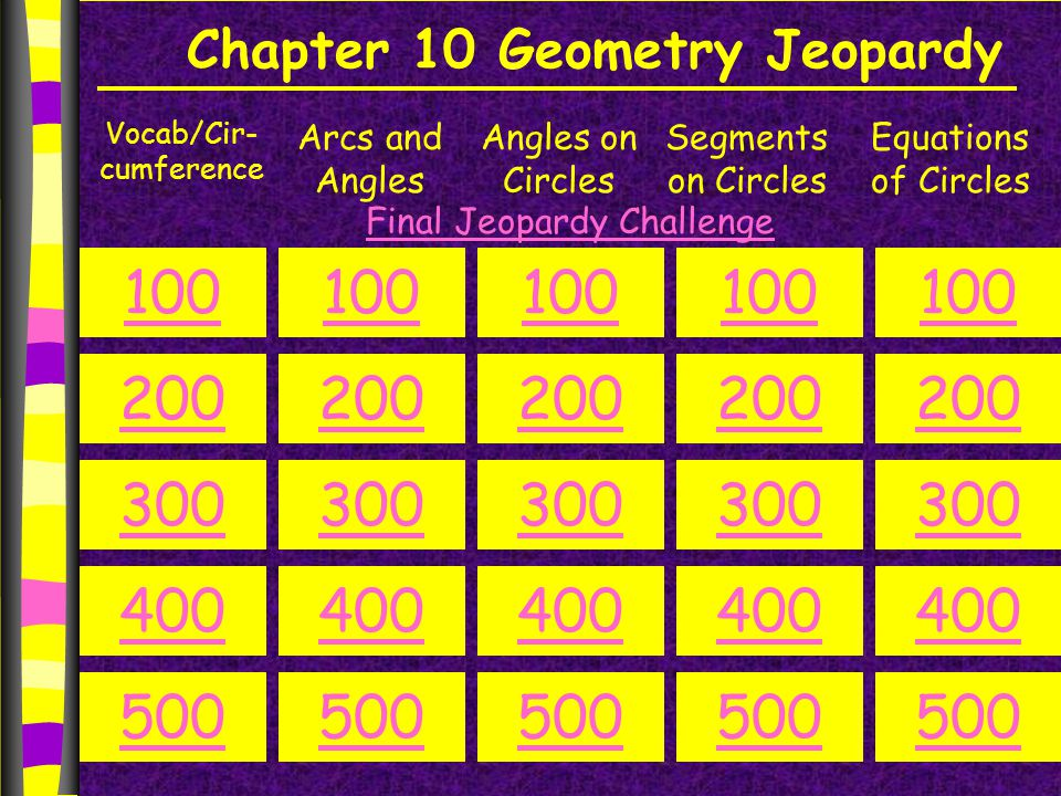 Chapter 10 Geometry Jeopardy Vocab/Cir- cumference Arcs and Angles Angles on Circles Segments on Circles Equations of Circles 100 200 300 400 500 100 200 300 400 500 100 200 300 400 500 100 200 300 400 500 100 200 300 400 500 Final Jeopardy Challenge