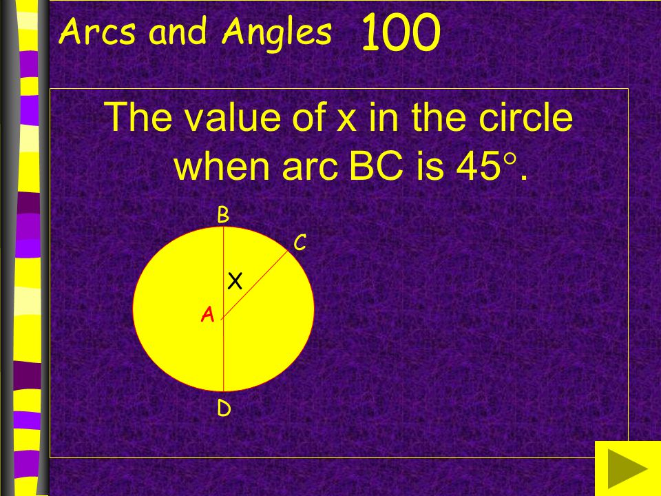 Arcs and Angles The value of x in the circle when arc BC is 45 . 100 B A D C X