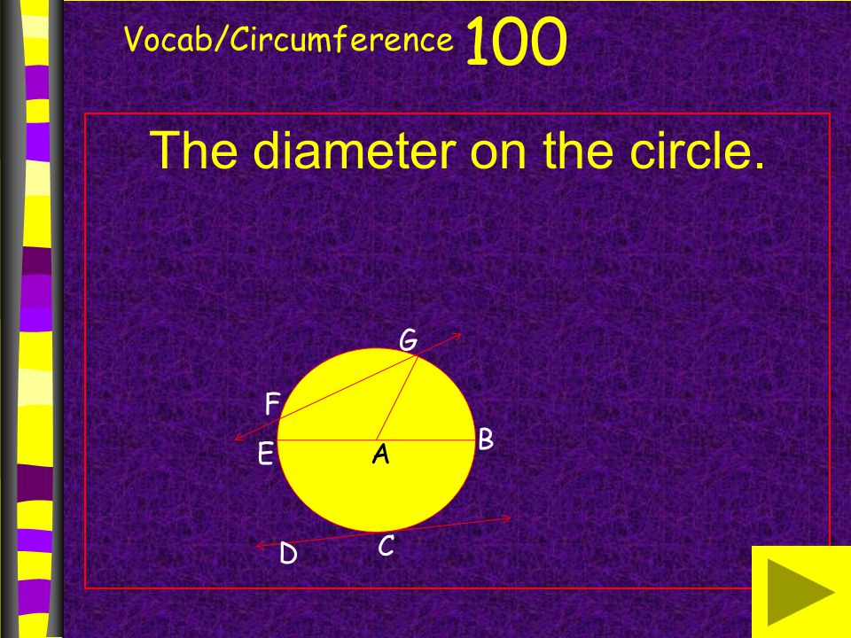Vocab/Circumference The diameter on the circle. 100 B AE G F D C