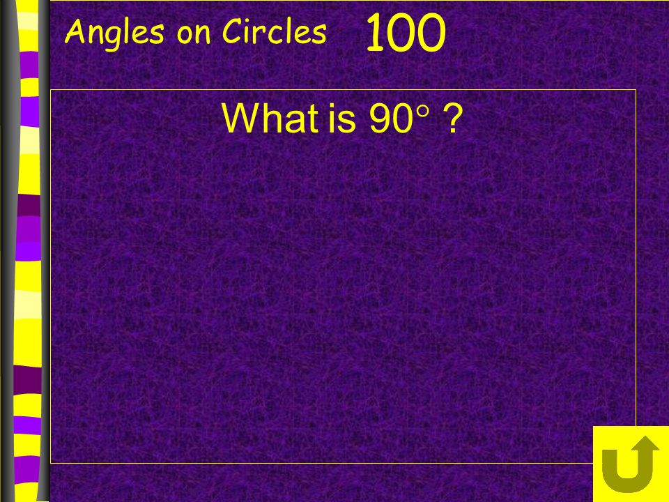 Angles on Circles What is 90  ? 100