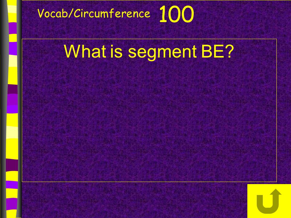 Vocab/Circumference What is segment BE? 100