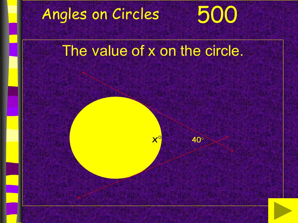 Angles on Circles The value of x on the circle. 500 xx 40 