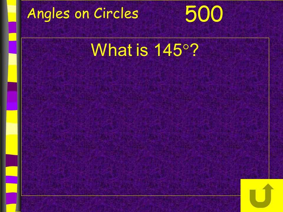 Angles on Circles What is 145  ? 500