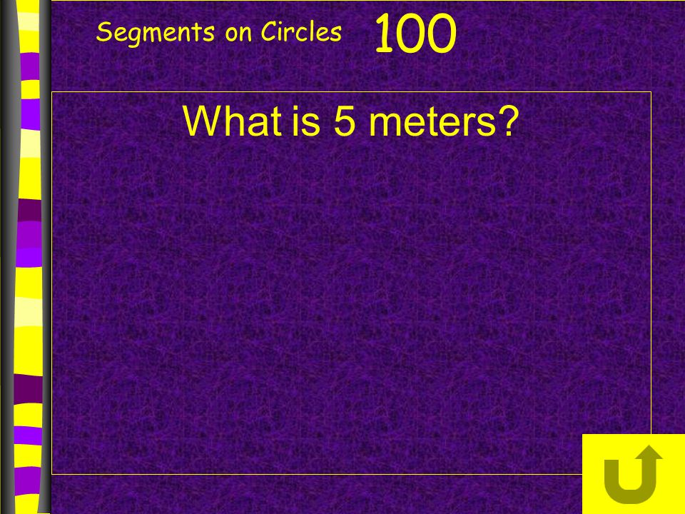 Segments on Circles What is 5 meters? 100