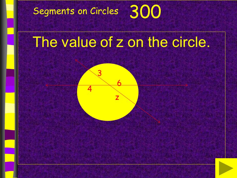 Segments on Circles The value of z on the circle. 300 4 3 z 6