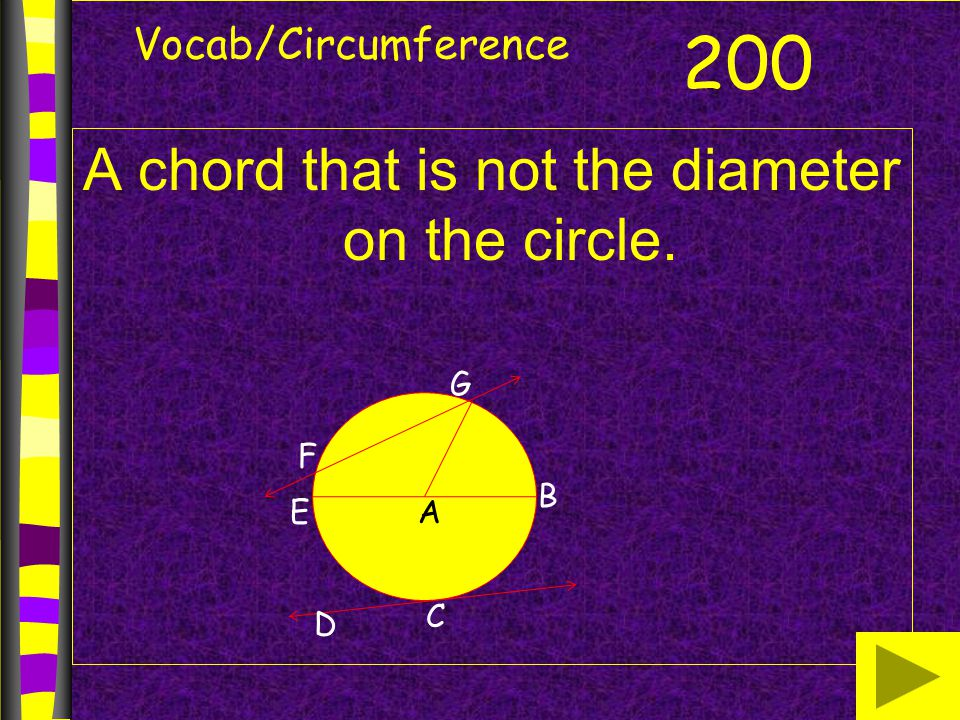 Vocab/Circumference A chord that is not the diameter on the circle. 200 B AE G F D C