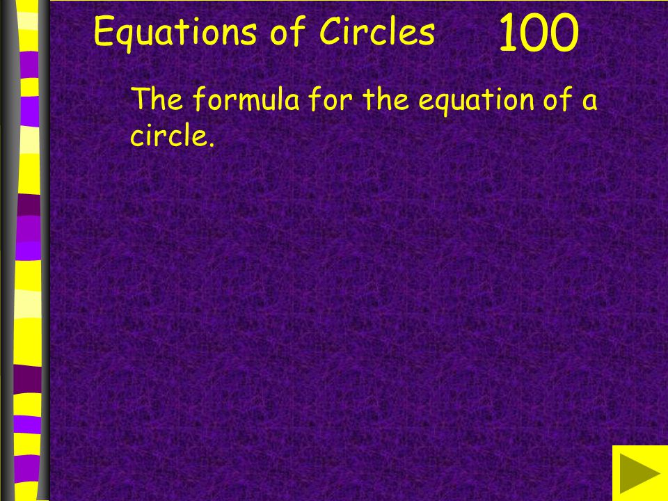 Equations of Circles 100 The formula for the equation of a circle.