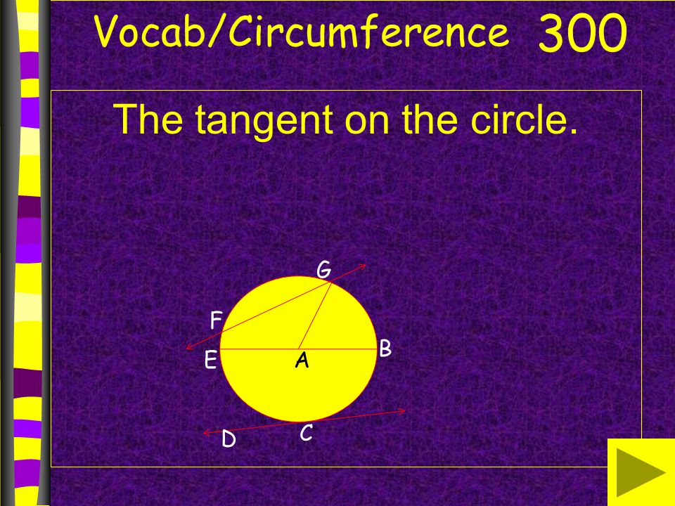 Vocab/Circumference The tangent on the circle. 300 B AE G F D C
