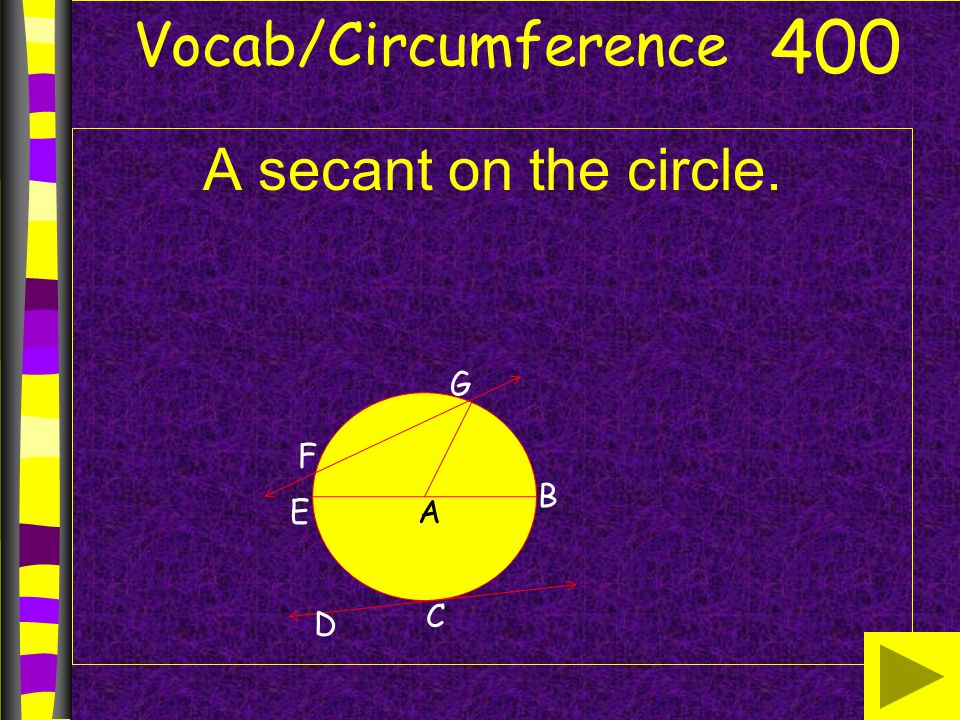 Vocab/Circumference A secant on the circle. 400 B AE G F D C
