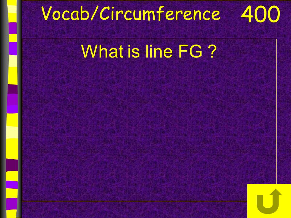 Vocab/Circumference What is line FG ? 400