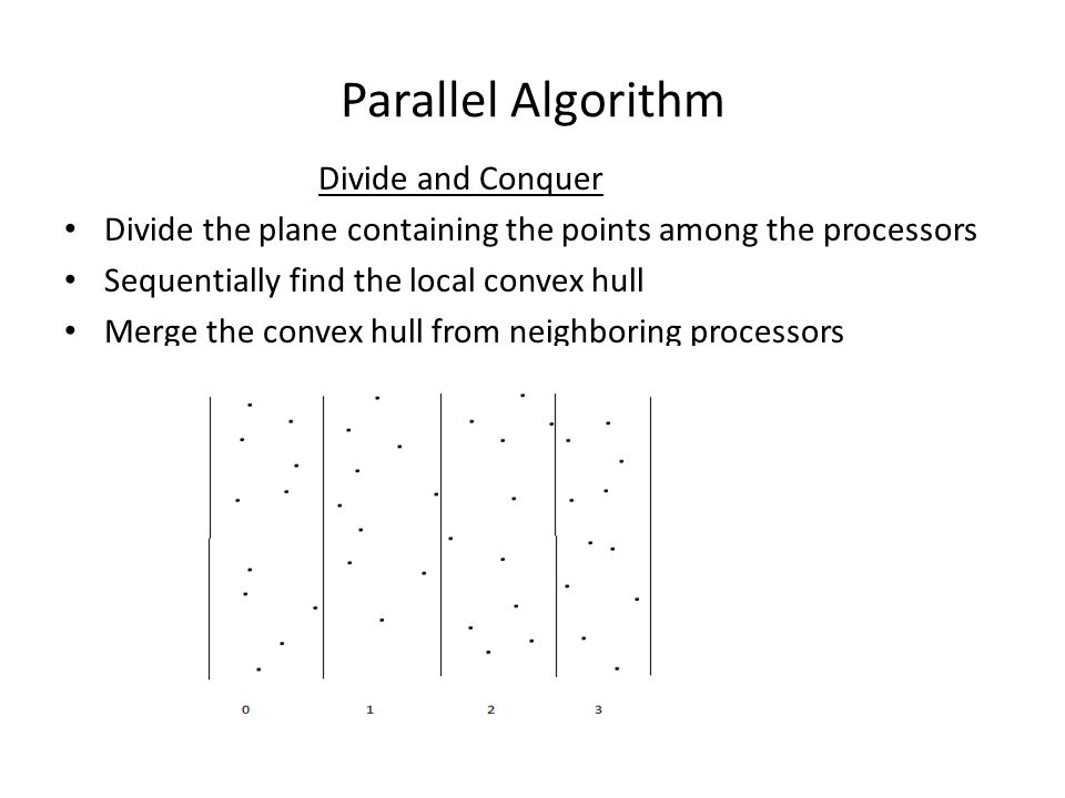 Parallel Algorithm Divide and Conquer Divide the plane containing the points among the processors Sequentially find the local convex hull Merge the convex hull from neighboring processors