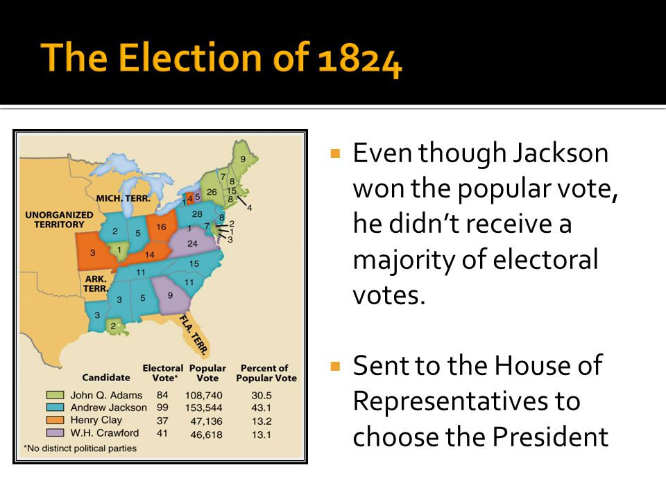  Regional and personality differences led to a multi- candidate race  The Participants  John Quincy Adams  Andrew Jackson  Henry Clay  William C