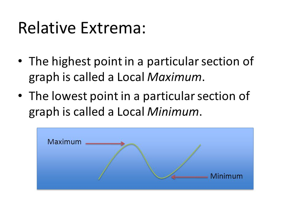 Relative Extrema: The highest point in a particular section of graph is called a Local Maximum. The lowest point in a particular section of graph is c