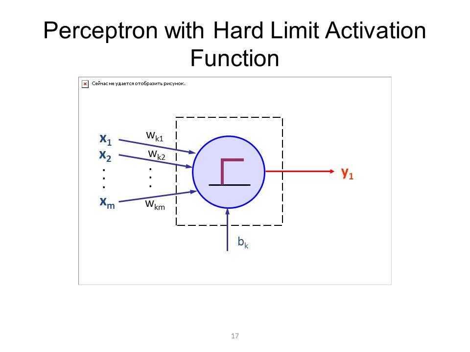 Perceptron with Hard Limit Activation Function y1y1 x1x1 x2x2 xmxm w k1 w km w k2 bkbk............ 17