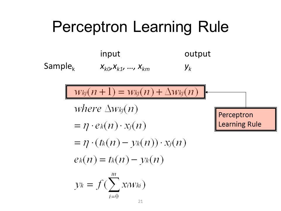 Perceptron Learning Rule inputoutput Sample k x k0,x k1, …, x km y k Perceptron Learning Rule 21