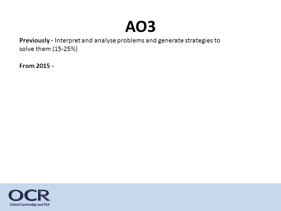 Previously - Interpret and analyse problems and generate strategies to solve them (15-25%) From 2015 - AO3