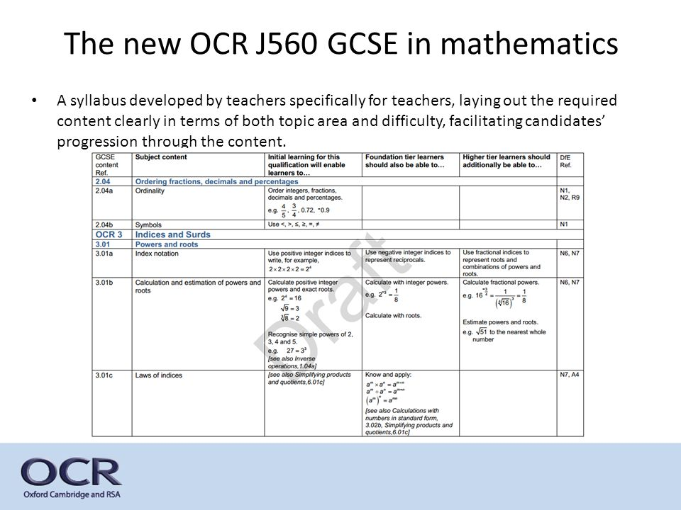 The new OCR J560 GCSE in mathematics A syllabus developed by teachers specifically for teachers, laying out the required content clearly in terms of both topic area and difficulty, facilitating candidates' progression through the content.