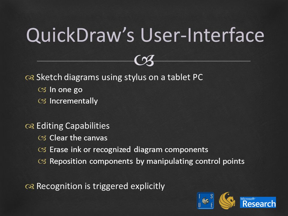   Sketch diagrams using stylus on a tablet PC  In one go  Incrementally  Editing Capabilities  Clear the canvas  Erase ink or recognized diagram components  Reposition components by manipulating control points  Recognition is triggered explicitly QuickDraw's User-Interface