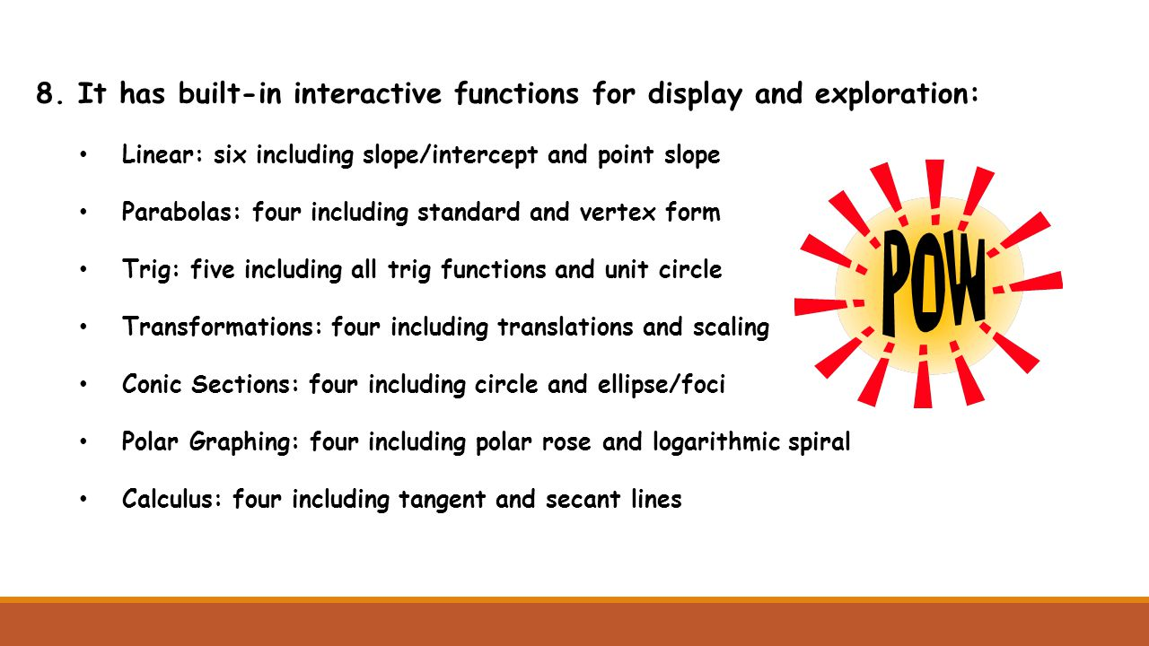 8. It has built-in interactive functions for display and exploration: Linear: six including slope/intercept and point slope Parabolas: four including