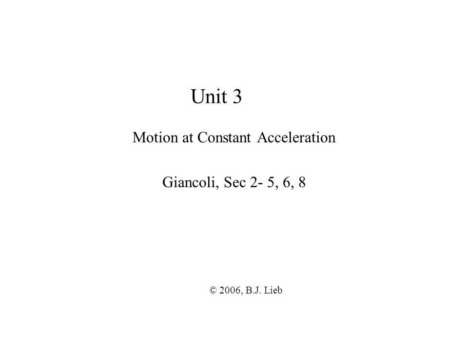 Unit 3 Motion at Constant Acceleration Giancoli, Sec 2- 5, 6, 8 © 2006, B.J. Lieb