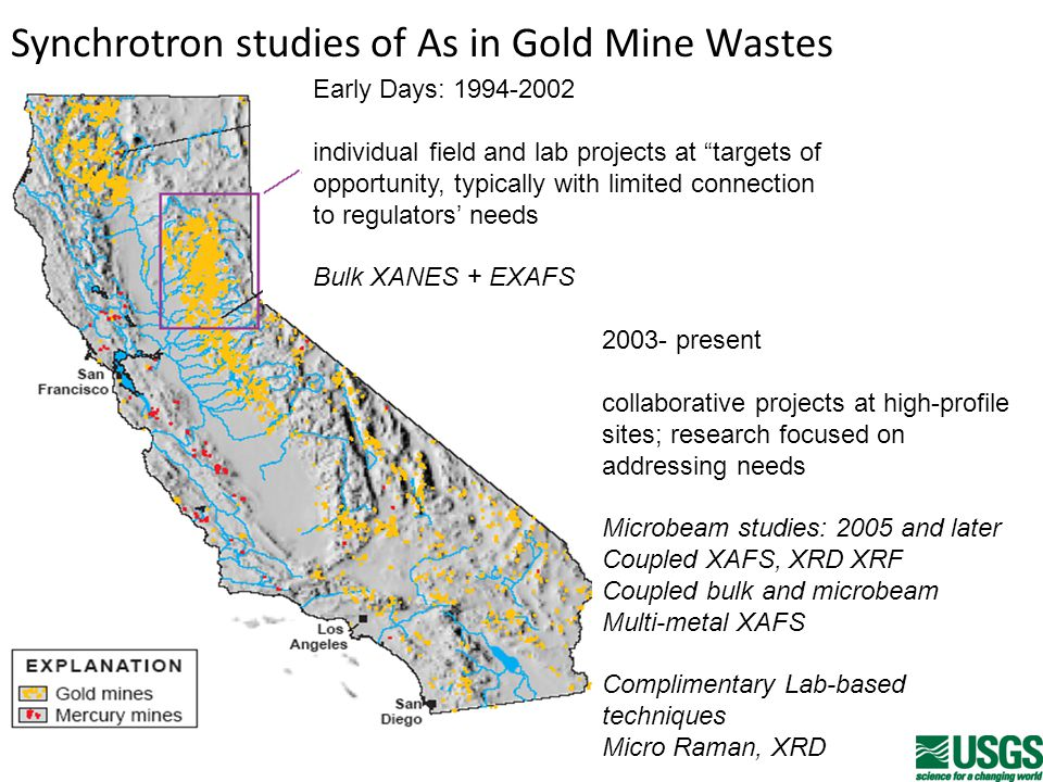 Synchrotron studies of As in Gold Mine Wastes Early Days: 1994-2002 individual field and lab projects at targets of opportunity, typically with limited connection to regulators' needs Bulk XANES + EXAFS 2003- present collaborative projects at high-profile sites; research focused on addressing needs Microbeam studies: 2005 and later Coupled XAFS, XRD XRF Coupled bulk and microbeam Multi-metal XAFS Complimentary Lab-based techniques Micro Raman, XRD