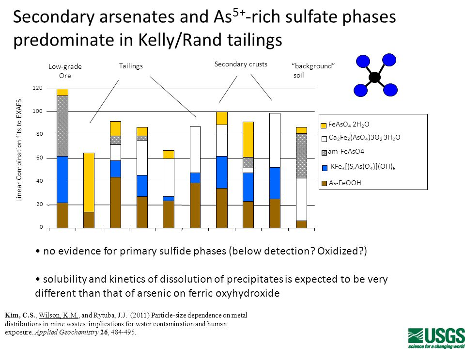 Secondary arsenates and As 5+ -rich sulfate phases predominate in Kelly/Rand tailings 0 20 40 60 80 100 120 background soil FeAsO 4 2H 2 O am-FeAsO4 Ca 2 Fe 3 (AsO 4 )3O 2 3H 2 O KFe 3 [(S,As)O 4 )](OH) 6 As-FeOOH Secondary crusts Tailings Low-grade Ore Linear Combination fits to EXAFS no evidence for primary sulfide phases (below detection.