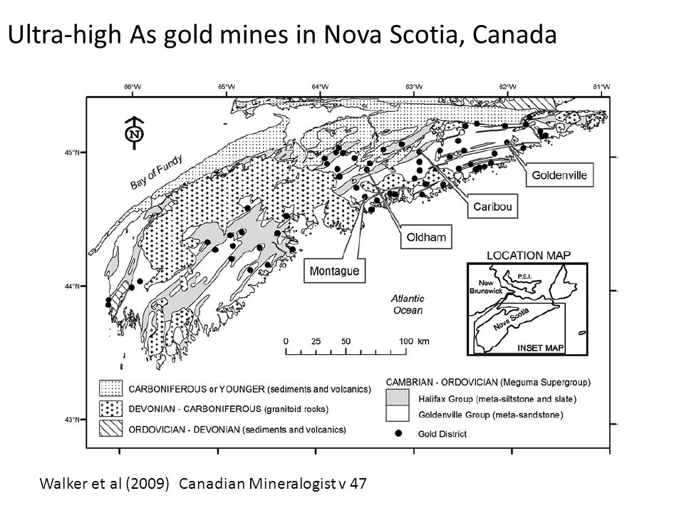 Ultra-high As gold mines in Nova Scotia, Canada Walker et al (2009) Canadian Mineralogist v 47