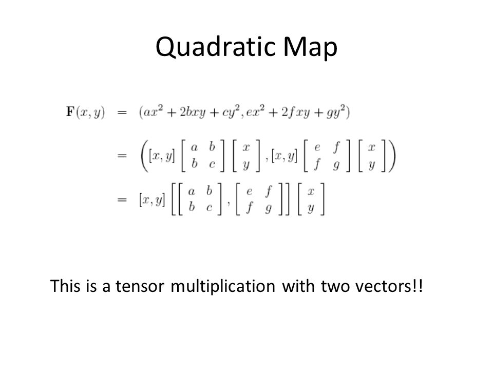 Quadratic Map This is a tensor multiplication with two vectors!!