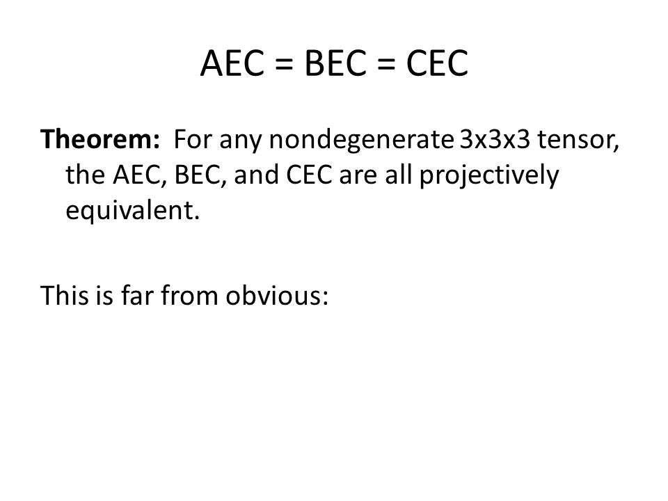 AEC = BEC = CEC Theorem: For any nondegenerate 3x3x3 tensor, the AEC, BEC, and CEC are all projectively equivalent.