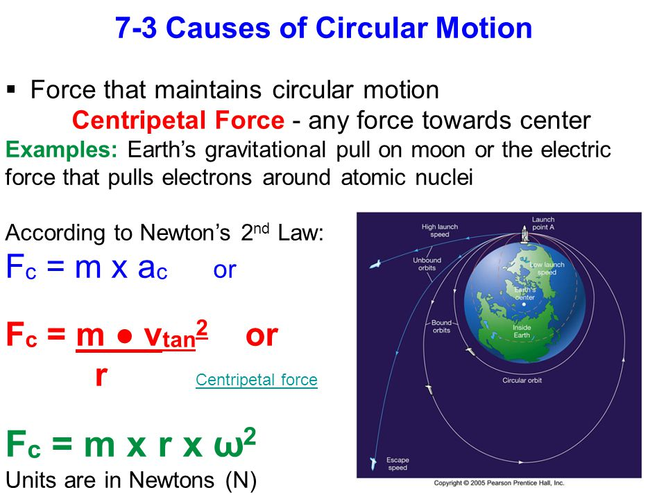 7-3 Causes of Circular Motion  Force that maintains circular motion Centripetal Force - any force towards center Examples: Earth's gravitational pull