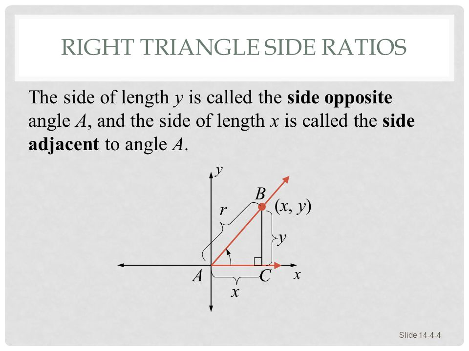 RIGHT TRIANGLE SIDE RATIOS Slide 14-4-4 B y x x y r (x, y) AC The side of length y is called the side opposite angle A, and the side of length x is ca