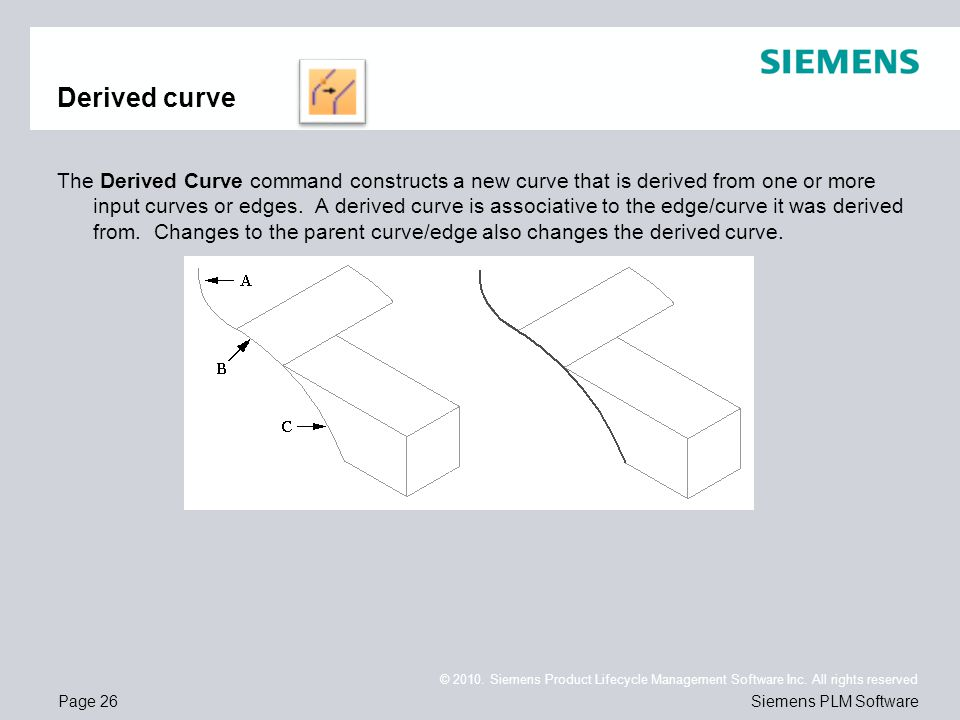 Page 26 © 2010. Siemens Product Lifecycle Management Software Inc. All rights reserved Siemens PLM Software Derived curve The Derived Curve command co