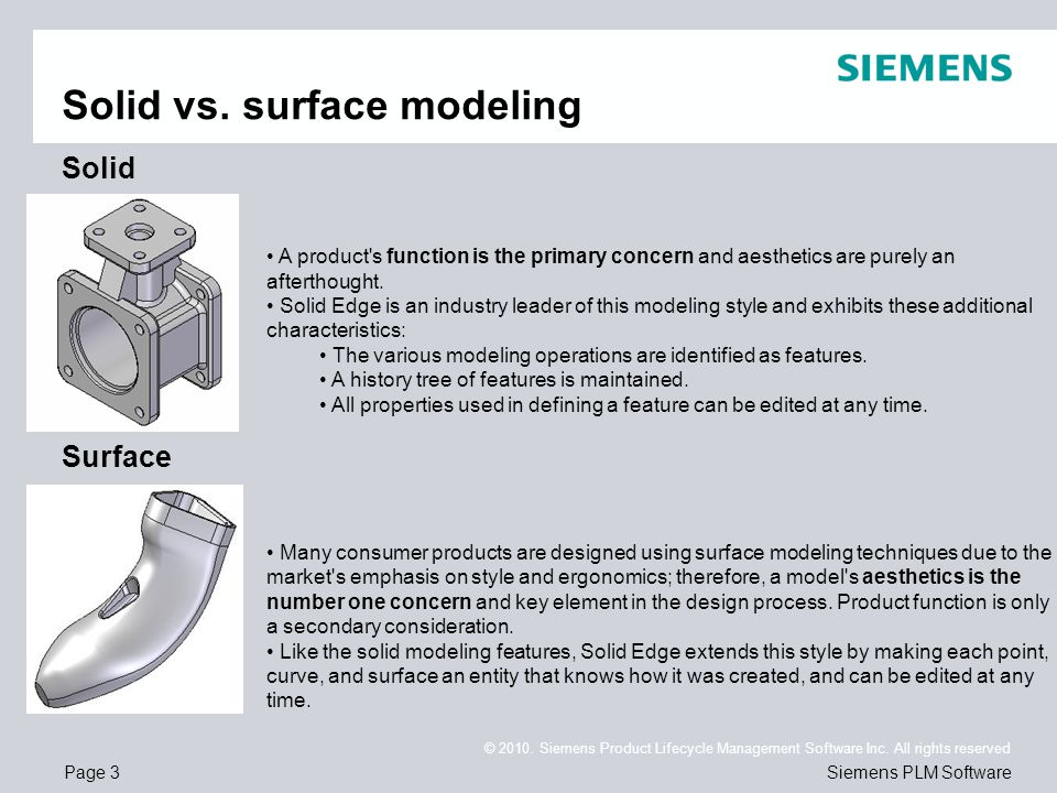 Page 3 © 2010. Siemens Product Lifecycle Management Software Inc. All rights reserved Siemens PLM Software Solid vs. surface modeling Solid Surface A