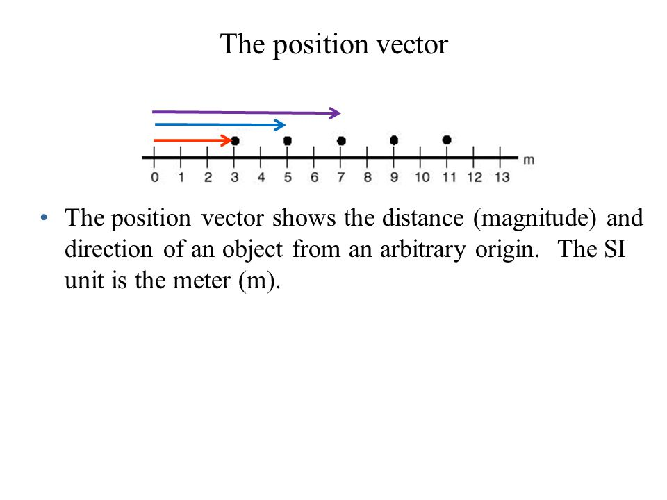 Examples of one-dimensional position vectors 0 For 1-D vectors parallel to a coordinate axis, the vector is equivalent to its scalar component; therefore direction can be specified by positive and negative signs.