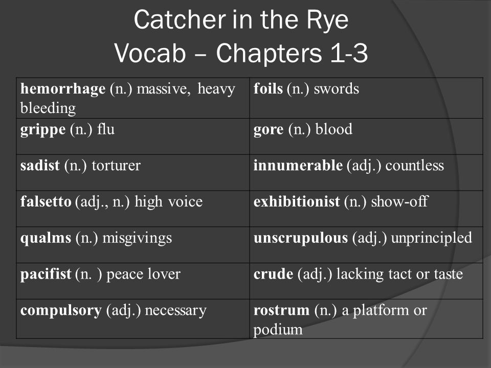 Catcher in the Rye Vocab – Chapters 5-13 unanimous (adj.) all in agreement snub (v.) to slight; behave coldly toward conscientious (adj.) careful; honest; painstaking nonchalant (adj.) seeming to be coolly unconcerned or indifferent incognito (adj.) unknownbourgeois (adj.) middle- class putrid (adj.) rotten and disgusting lavish (adj.) extravagant