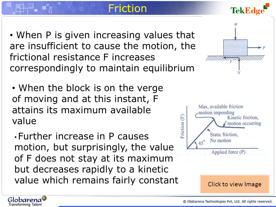 Friction When P is given increasing values that are insufficient to cause the motion, the frictional resistance F increases correspondingly to maintain equilibrium When the block is on the verge of moving and at this instant, F attains its maximum available value Further increase in P causes motion, but surprisingly, the value of F does not stay at its maximum but decreases rapidly to a kinetic value which remains fairly constant Click to view Image