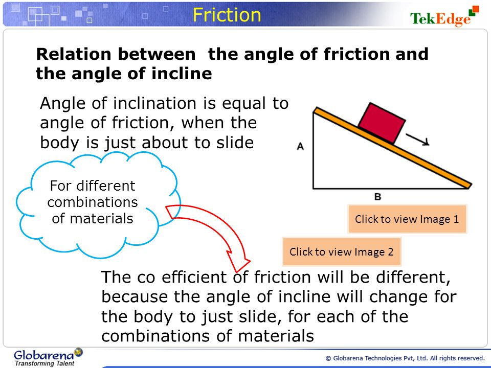 Friction Relation between the angle of friction and the angle of incline Angle of inclination is equal to angle of friction, when the body is just about to slide The co efficient of friction will be different, because the angle of incline will change for the body to just slide, for each of the combinations of materials For different combinations of materials Click to view Image 1 Click to view Image 2
