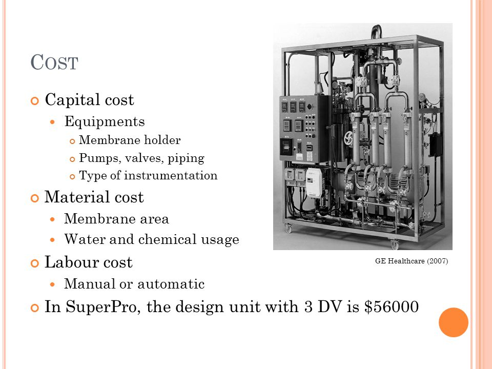 C OST Capital cost Equipments Membrane holder Pumps, valves, piping Type of instrumentation Material cost Membrane area Water and chemical usage Labou