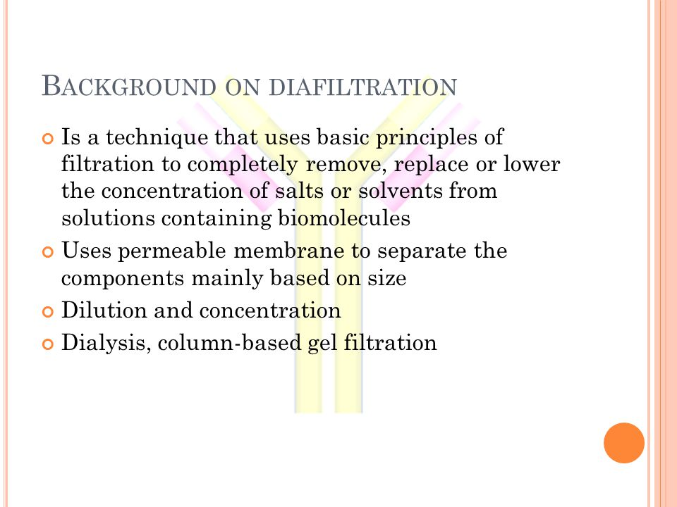 B ACKGROUND ON DIAFILTRATION Is a technique that uses basic principles of filtration to completely remove, replace or lower the concentration of salts or solvents from solutions containing biomolecules Uses permeable membrane to separate the components mainly based on size Dilution and concentration Dialysis, column-based gel filtration