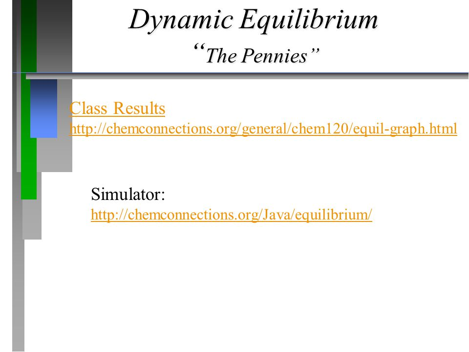 Dynamic Equilibrium The Pennies Class Results http://chemconnections.org/general/chem120/equil-graph.html Simulator: http://chemconnections.org/Java/equilibrium/
