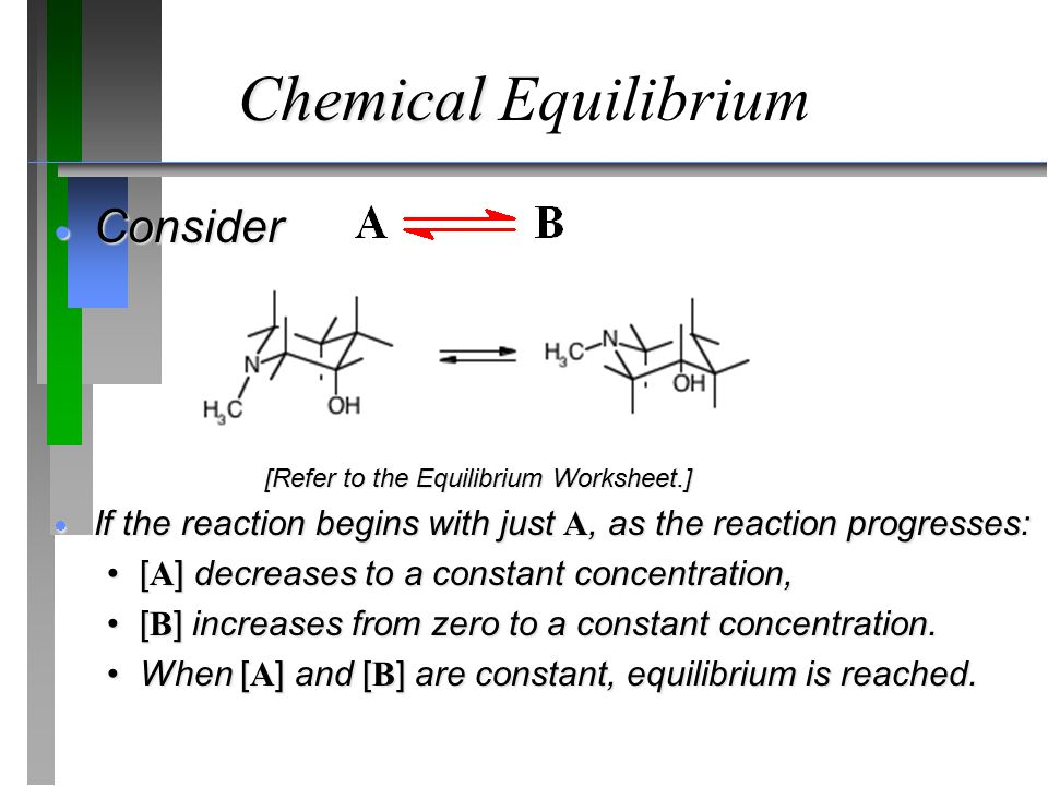 Chemical Chemical Equilibrium  Consider [Refer to the Equilibrium Worksheet.]  If the reaction begins with just A, as the reaction progresses: [ A ] decreases to a constant concentration,[ A ] decreases to a constant concentration, [ B ] increases from zero to a constant concentration.[ B ] increases from zero to a constant concentration.