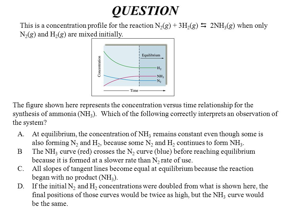 QUESTION The figure shown here represents the concentration versus time relationship for the synthesis of ammonia (NH 3 ). Which of the following corr