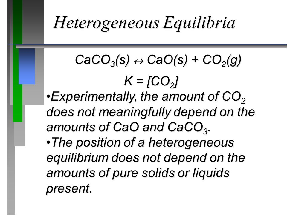 CaCO 3 (s)  CaO(s) + CO 2 (g) K = [CO 2 ] Experimentally, the amount of CO 2 does not meaningfully depend on the amounts of CaO and CaCO 3.Experiment