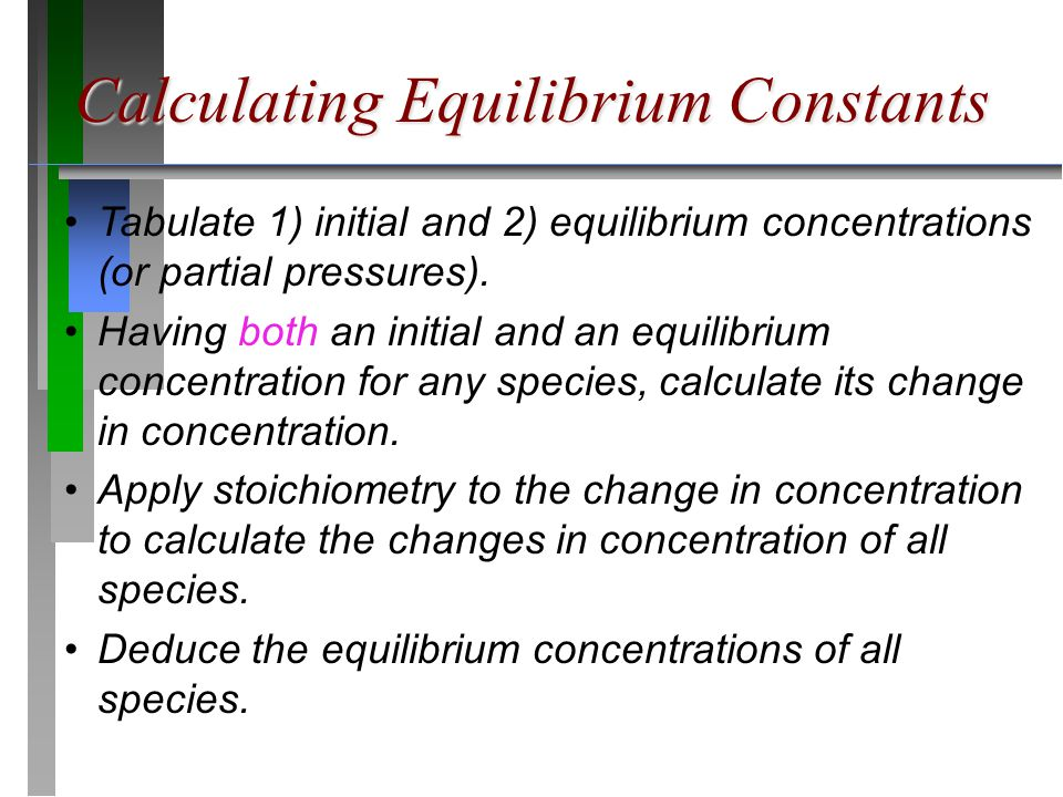 Calculating Equilibrium Constants Tabulate 1) initial and 2) equilibrium concentrations (or partial pressures).