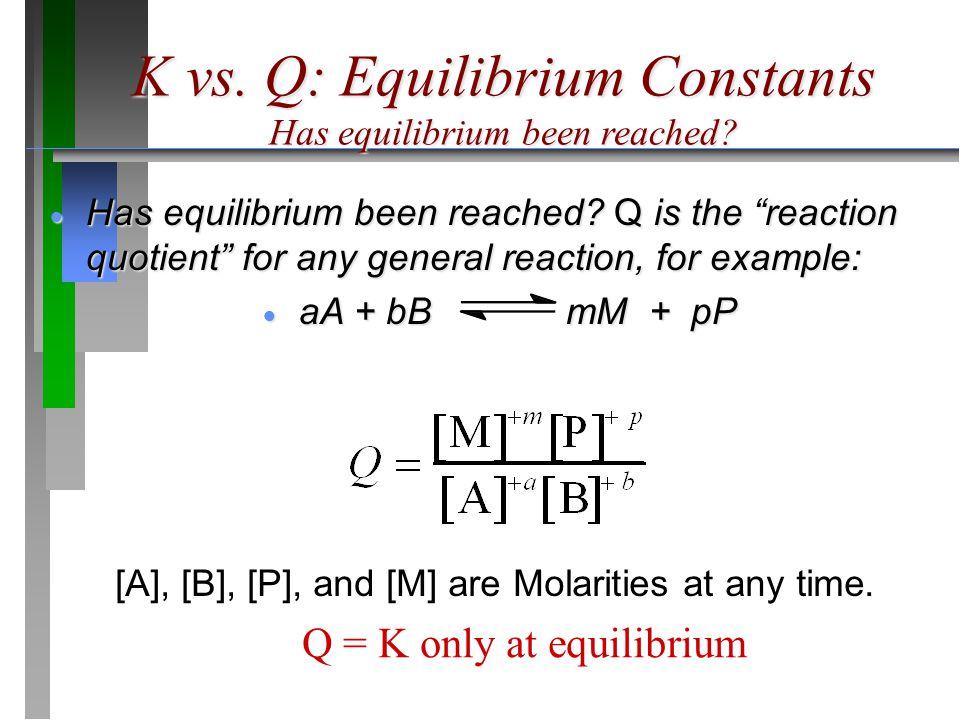 """K vs. Q: Equilibrium Constants Has quilibrium been reached? Has equilibrium been reached?  Has equilibrium been reached? Q is the """"reaction quotient"""""""